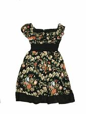NEW GIRLS SUMMER FLORAL DRESS BLACK  SIZE  4, 6, 8, 10 & 12 YEARS
