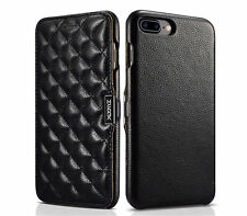 XOOMZ Luxury Geniune Leather Quilted Magnet Flip Case Cover For iPhone 7/7 Plus