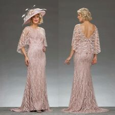 Mother Of The Bride Dresses Lace Applique Formal Gowns Pink Cape Custom Elegant