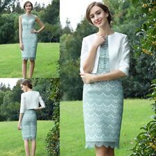 2017 Mother Of The Bride Dresses 2 Pieces Knee-Length Dress Suit Lace 3/4 Sleeve
