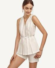 NWT Ann Taylor Cotton Pleated Tie Top Blouse $69.50 REGULAR & PETITE White NEW