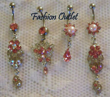 SWAROVSKI PINK BUTTERFLY- PEARL- FLOWER Belly Button Ring Navel Dangle 14G - 3/8