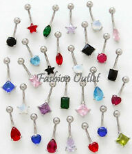 """CZ STAR 10mm Solitaire Belly Button Ring Navel Dangle Barbell 14G 7/8"""" SHIP FREE"""