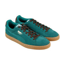 Puma Suede Classic Casual Mens Green Suede Lace Up Lace Up Sneakers Shoes