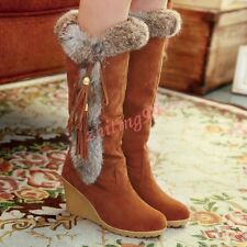 Chic Winter Womens Warm Suede Faux Wedge Heels Fur Tassel Knee-High Boots Shoes