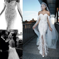 2017 Wedding Dresses Lace Applique White Ivory Bridal Gowns Custom Split Crystal