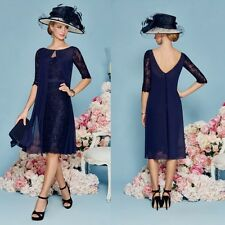 2017 Chiffon Mother Of The Bride Dresses 3/4 Sleeve Lace Evening Gowns Navy Blue