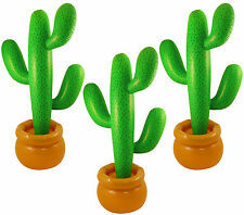 PACK OF 3 INFLATABLE CACTUS 86 CM MEXICAN SCENE SETTER PARTY DECORATION