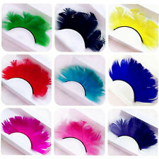 Colorful Feather False Eyelashes for Party Fancy Ball Halloween Makeup (1 Pair)