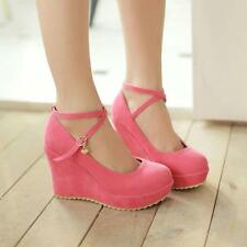 Womens Suede Ankle Strap Pump Round Toe High Wedge Heel Platform Shoes Sweet Hot