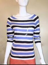 NWT Ann Taylor Loft Cotton 3/4 Sleeve Boat Neck Stripe Sweater $39  NEW Blue