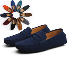 2017  New men's suede leather loafers slip on moccasins driving penny shoes