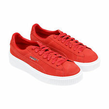 Puma Suede Platform Womens Red Suede Lace Up Lace Up Sneakers Shoes