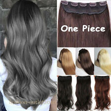 100% Natural Thick 1Piece Hair Hair Extensions Clip in Human Fake Brown Hair HT5