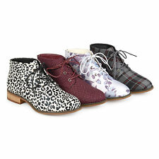 Brinley Co. Womens Faux Leather Wood Heel Lace-up Print Booties