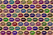 """12-1"""" Colorful Lips Designs Mini Cup Cake Toppers Scrapbook Bottle Caps Lips"""