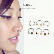 16g horseshoe ring, Septum rings, Tragus Cartilage earring, Circular barbell 1pc