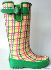 new SPERRY Top-Sider 'Pelican' green/coral plaid fleece-lined SNOW RAIN BOOTS
