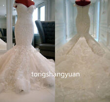 Luxury Mermaid Wedding Dresses Strapless White Ivory Bridal Gowns Beads Crystals