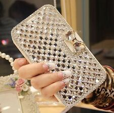 Bling Luxury Bowknot Crystal Diamond Wallet Flip Case Cover For iphone / samsung