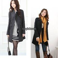 New Korea Slim Fit Women Fashion Coat stand-up Collar Double-breasted RLWH01
