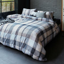 300TC Bedding House Andes Grey Cotton Quilt Doona Cover Set - Queen King SUPER K