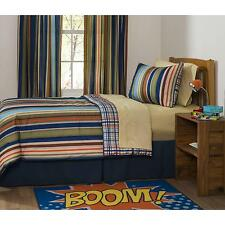 "Mainstays Rally Stripe Boys Bedroom Curtains, Set of two, 84"" length"