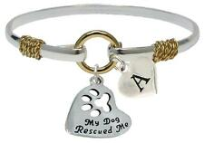 Custom My Dog Rescued Me Silver Gold Bracelet Jewelry Pet Shelter Initial Family