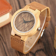 Simple Nature Wood Brown Genuine Leather Strap Women Quartz Wrist Watch Gift