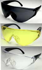 XL Large Wide Safety Glasses Sunglasses Frame Glasses Clear Yellow Sport Lens