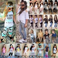 3PCS Toddler Kids Baby Girls Clothes T-shirt Tops+Pants/Jeans/Skirt Outfits Set