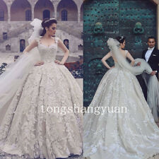 Luxury Wedding Dresses Empire Lace Custom Cathedral Train Bridal Ball Gowns Gray