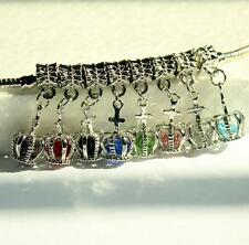 1PCs Female Bracelet Fashion Multicolor Charm Crystal Crown Dangle Beads Fit