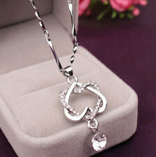 Women Necklace Pendant Jewelry Double Chain Fashion Heart Gold /Silver Plated