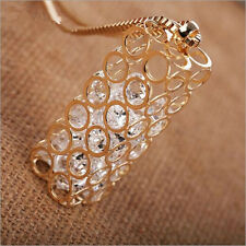 Square Box Pendant  Statement  Hollow  Hot Long sweater chain Crystal  Necklace