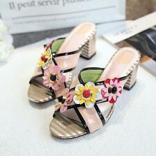 Stylish Womens Flowers Block High Heels Mules Peep Toe Slippers Sandals shoes SZ