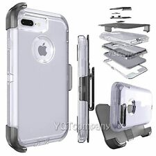 Clear Hard Case Hybrid Shockproof Clip TPU Bumper Cover For Apple iPhone 7/7+