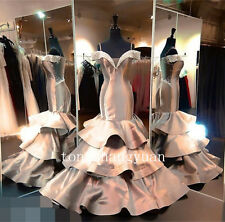 Long Mermaid Off Shoulder Crystal Bead Prom Gown Evening Party Pageant Dress New
