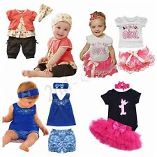 Toddler Kid Baby Girls Tutu Outfits T Shirt Tops Shorts Skirts Pants Clothes Set