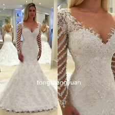 2017 Mermaid Wedding Dresses Beads Lace Applique Bridal Gowns Custom Made V Neck