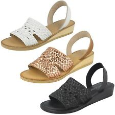 Ladies Leather Collection Weave Slingback Sandals