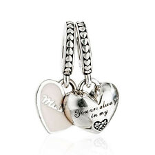 authentic 925 Sterling Silver Charm Enamel Mother & Daughter Hearts Pendant