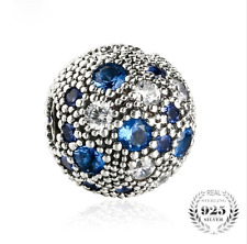 authentic 925 Sterling Silver Blue Stars Fixed Clip Crystals Stopper Beads