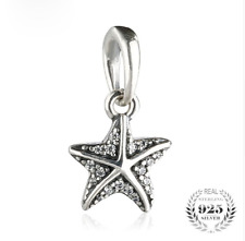 authentic 925 Sterling Silver Starfish Pendant Bead Clear CZ Charms beads
