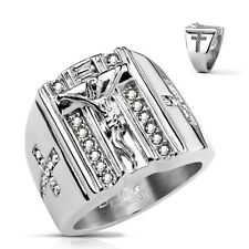 Crucifix with Christian Crosses in CZ Stainless Steel Ring Large
