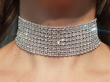 Diamante Choker Real Rhinestone Necklace -scroll for video  GENUINE  UK SELLER