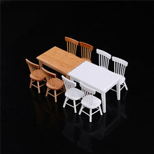 1:12 Wooden Kitchen Dining Table With 4 Chairs Set Barbie Dollhouse Furniture