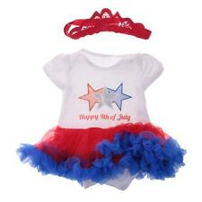 Cute Happy 4th of July Star Cotton Infant Baby Girls Dress Body Suit Headband