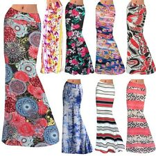 Boho Women's Vintage Floral Stretch High Waist Gypsy Beach Long Maxi Skirt Dress
