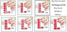 Nail Wraps Full Cover Patches  DIY Stickers  Red BG flowers, stars, Snowflakes
